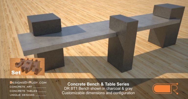 Outdoor Concrete Benches, Customizable dimensions and Configuration Concrete Bench DR BT1 (left angle) by DesignsbyRudy