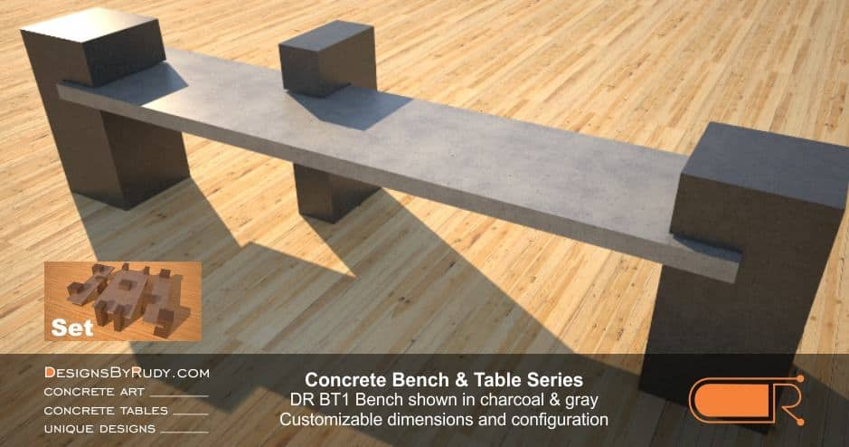 Outdoor Concrete Benches, Customizable dimensions and Configuration Concrete Bench DR BT1 (right angle) by DesignsbyRudy