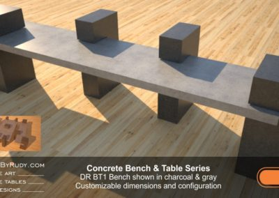 Outdoor Concrete Benches, Customizable dimensions and Configuration Concrete Bench DR BT1 (right angle with extra support) by DesignsbyRudy