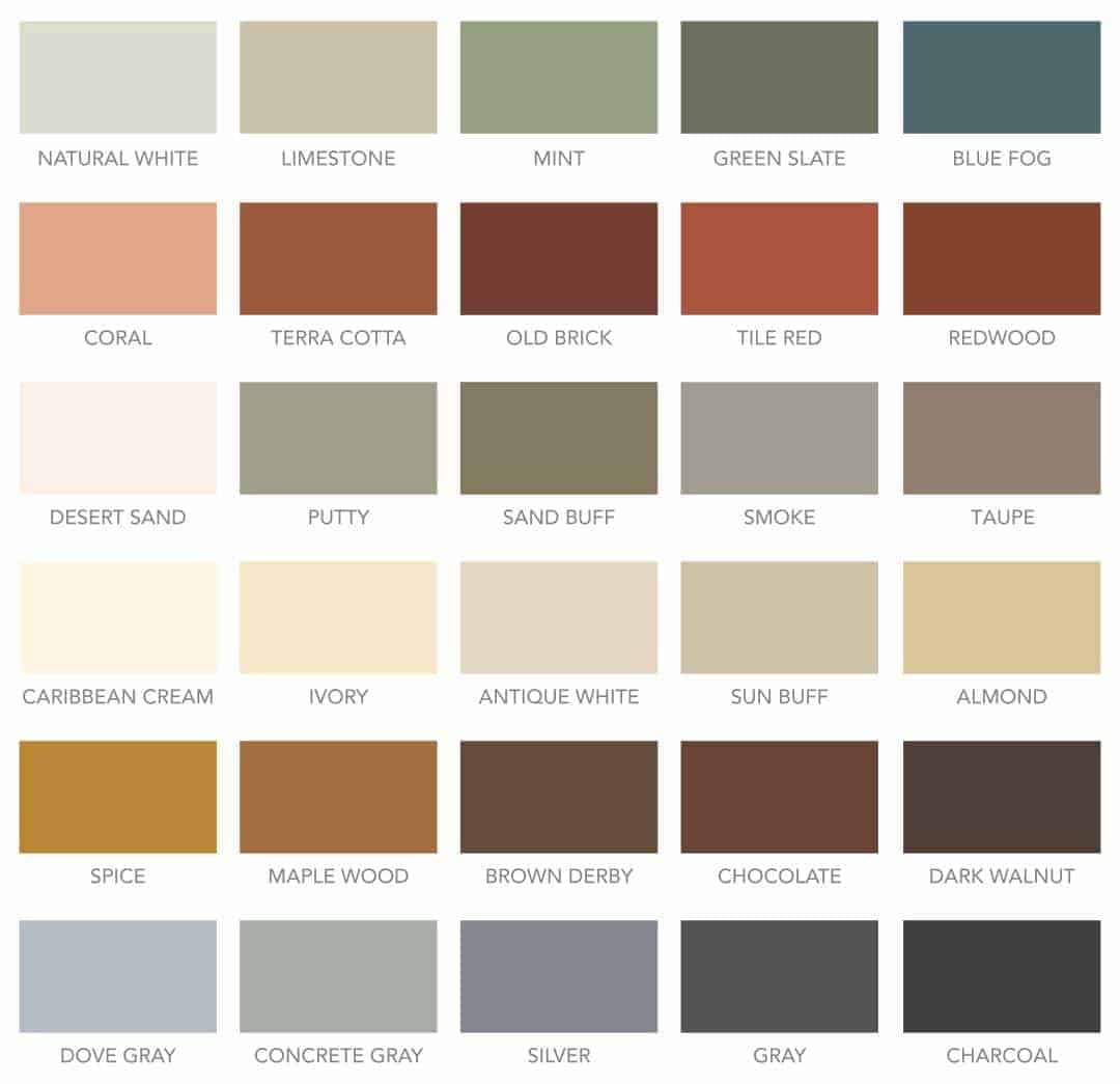 Concrete Furniture by Designs by Rudy - Concrete Color chart from SureCrete Designs Products