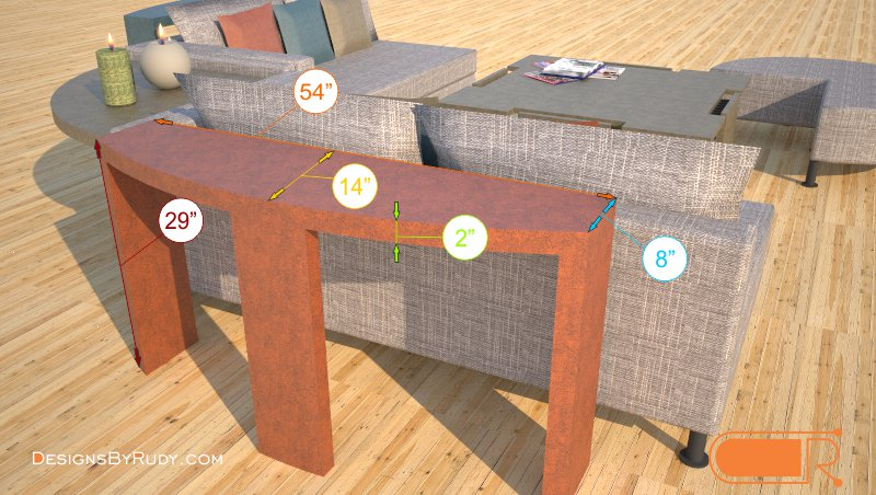 Demilune concrete console table dimensions Designs by Rudy