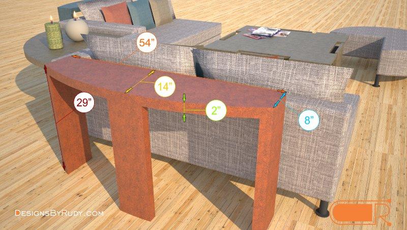 Demilune concrete console table dimensions Designs by Rudy