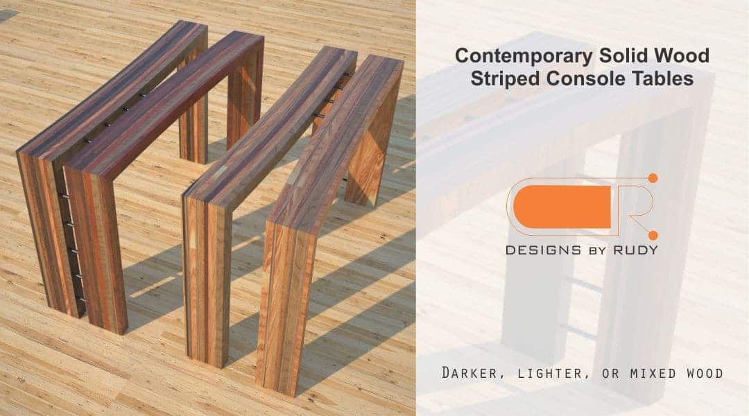 Contemporary Solid Wood Striped Console Tables Darker Lighter or Mixed Designs by Rudy
