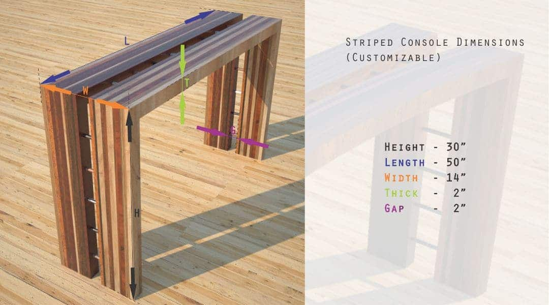 Contemporary Solid Wood Striped Console Tables Dimensions Designs by Rudy