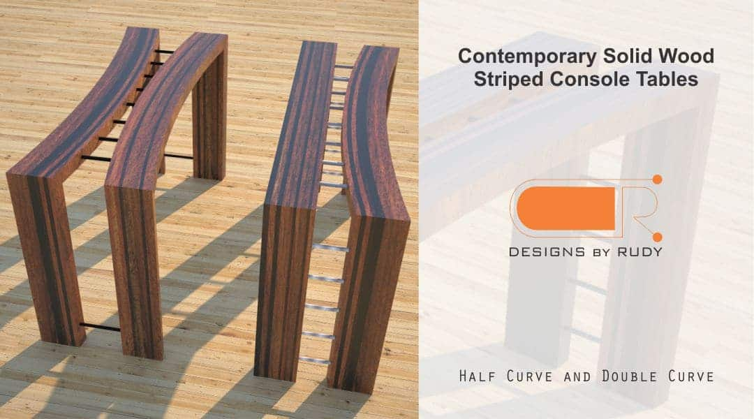 Contemporary Solid Wood Striped Console Tables Half Moon Double Moon 2 Designs by Rudy