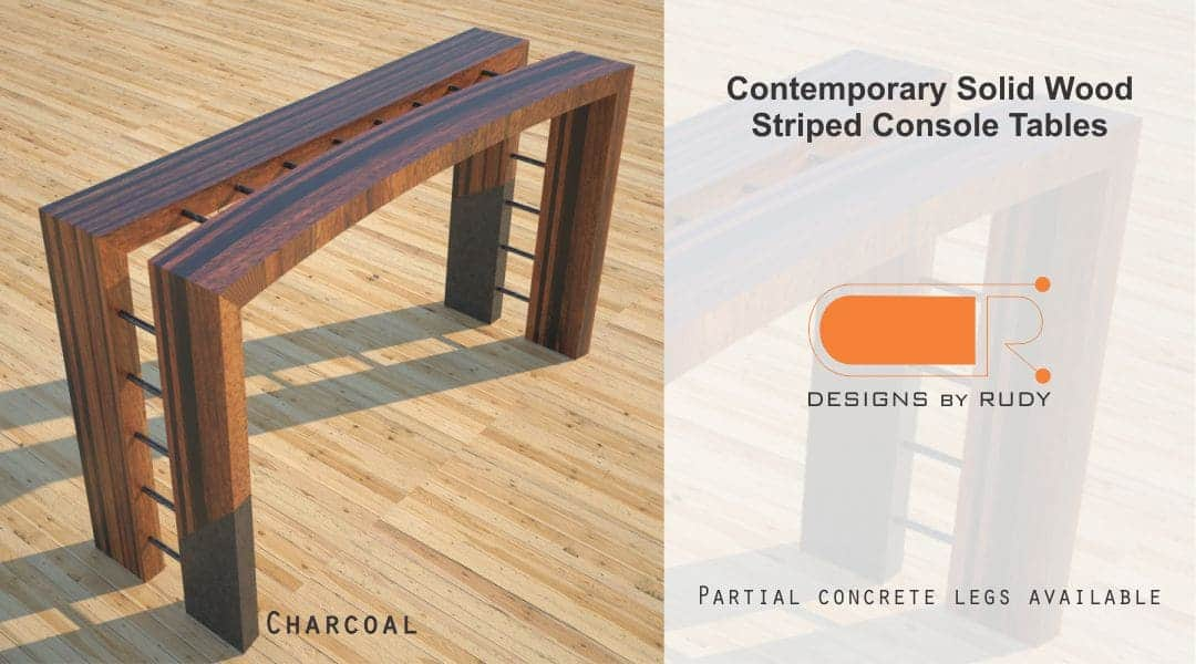 Contemporary Solid Wood Striped Console Tables Partial Concrete Legs Available Charcoal Designs by Rudy