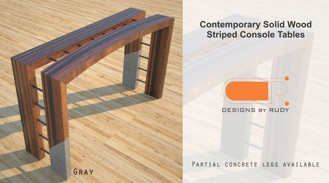 Contemporary Solid Wood Striped Console Tables Partial Concrete Legs Available Gray Designs by Rudy
