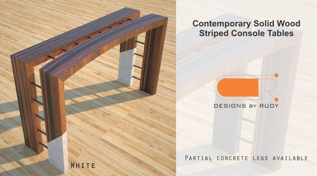 Contemporary Solid Wood Striped Console Tables Partial Concrete Legs Available White Designs by Rudy