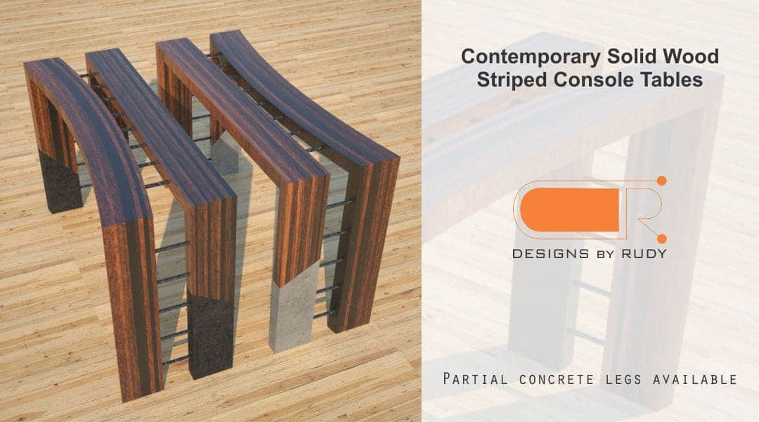 Contemporary Solid Wood Striped Console Tables Partial Concrete Legs Designs by Rudy