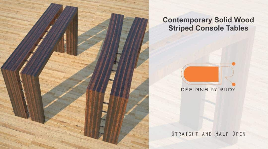 Contemporary Solid Wood Striped Console Tables Straight Half Open 2 Designs by Rudy