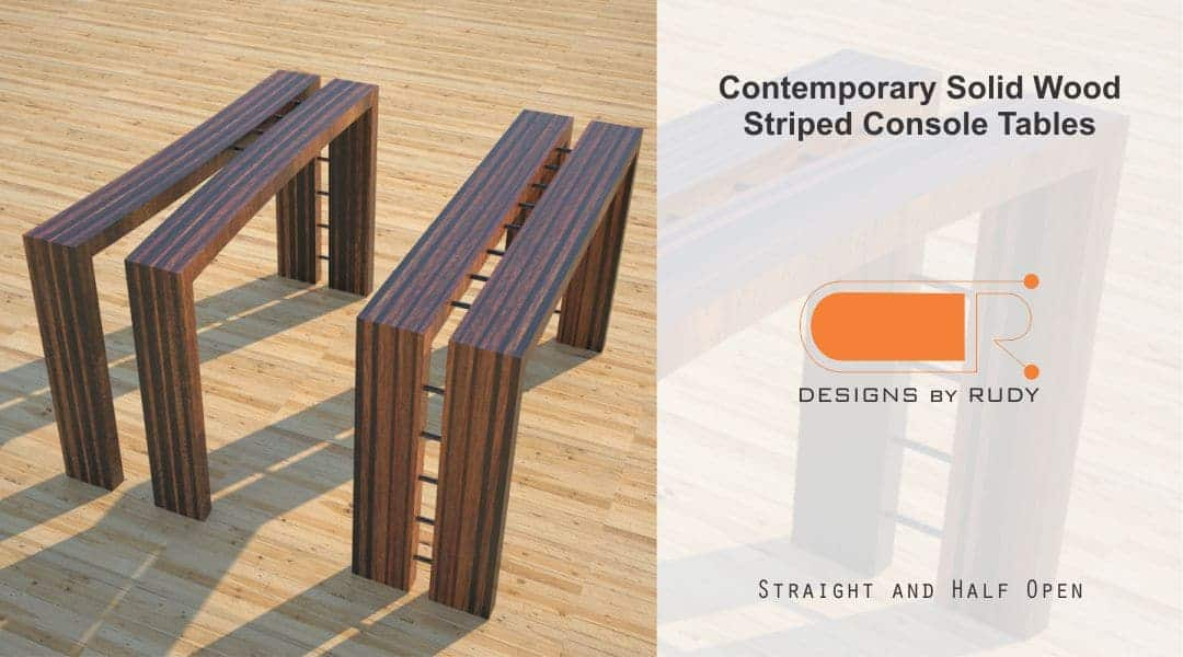 Contemporary Solid Wood Striped Console Tables Straight Half Open Designs by Rudy