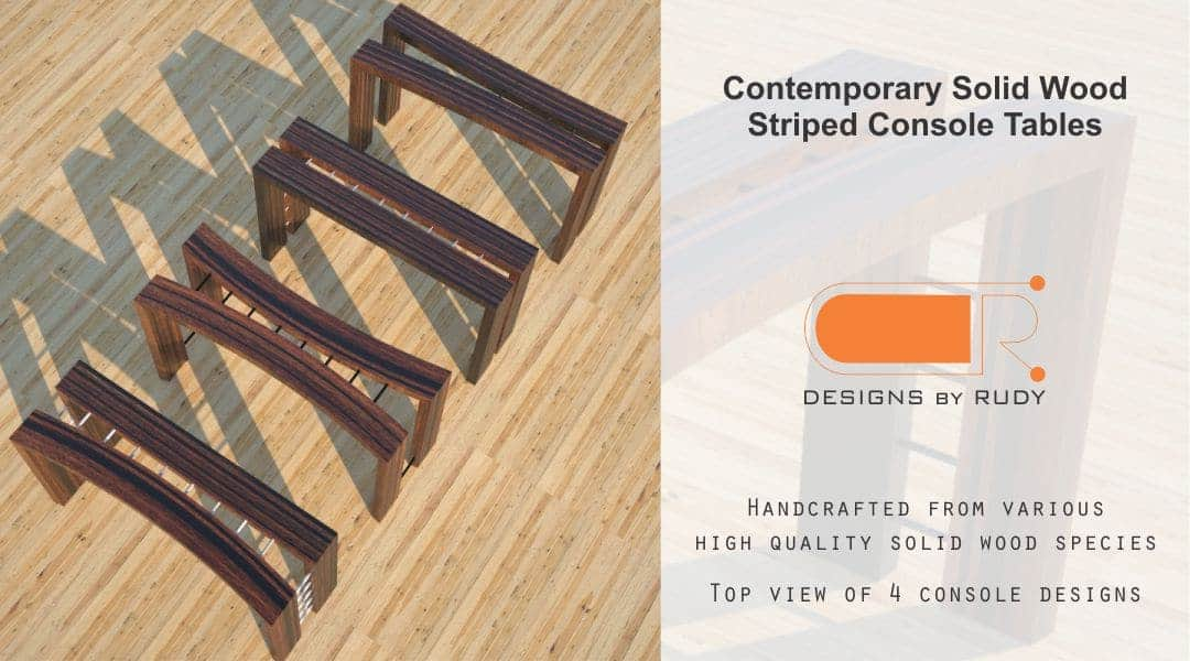 Contemporary Solid Wood Striped Console Tables Top View of 4 Console Designs by Rudy