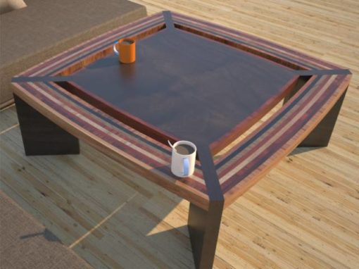Contemporary, Unique Coffee Tables, Striped Solid Wood Design