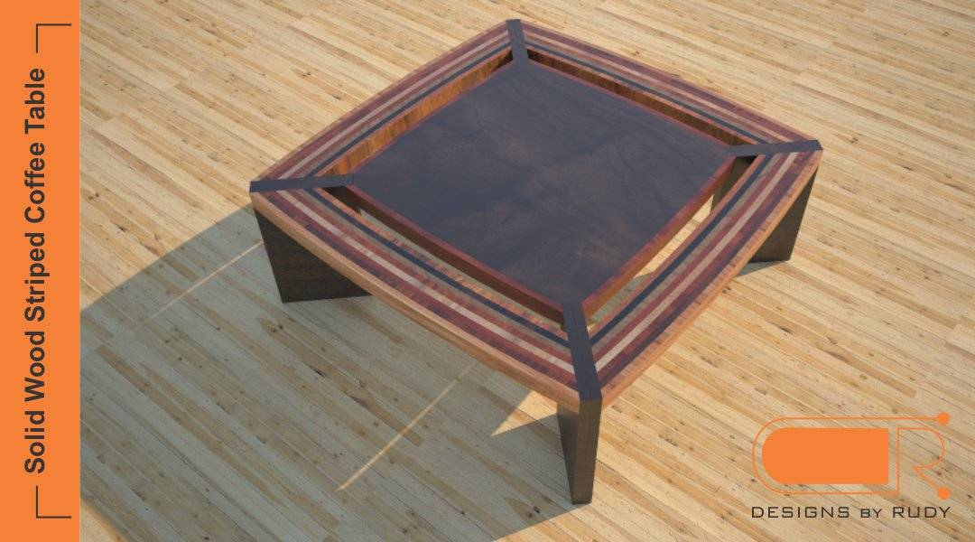 Modern Coffee Table, Solid Wood Striped Design, Custom Furniture By Designs  By Rudy