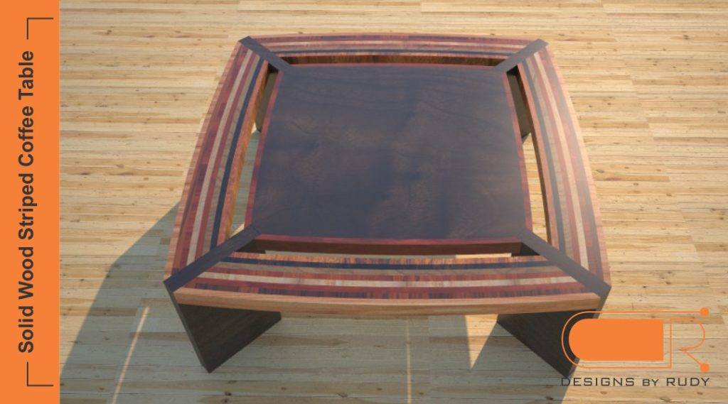 Solid wood coffee table, striped design, custom furniture by Designs by Rudy
