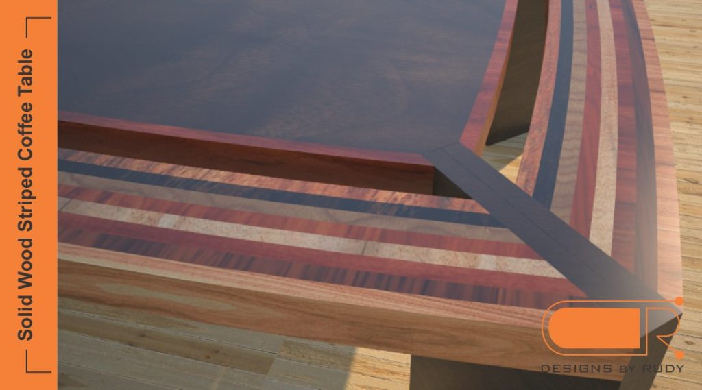 Striped coffee table, solid wood design, unique custom furniture by Designs by Rudy