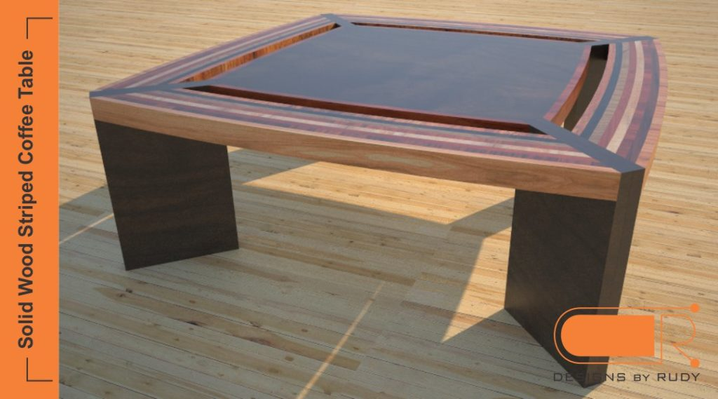 Unique coffee table, solid wood striped design, custom furniture by Designs by Rudy