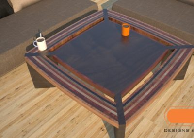 Wood coffee table, striped, modern design, unique custom furniture by Designs by Rudy
