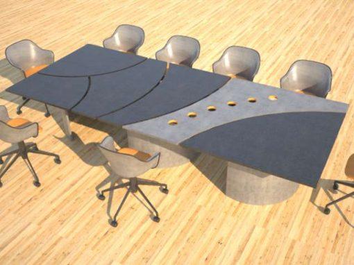Concrete Conference Table, Circle Design, Geometric Series
