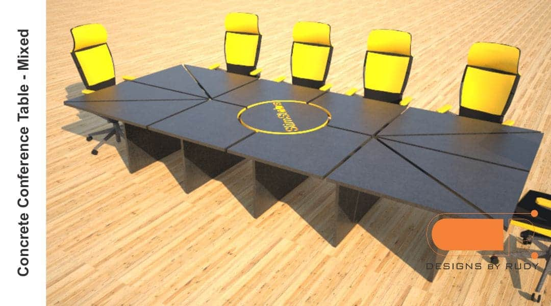 Concrete Conference table, mixed design by Designs by Rudy 3