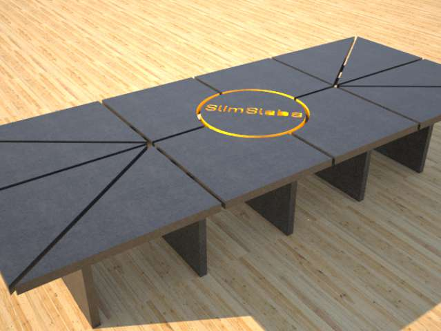 Concrete conference table mixed shapes by Designs by Rudy