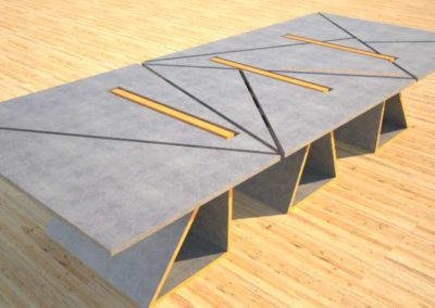 Concrete Conference Table, Triangle Design, Geometric Series
