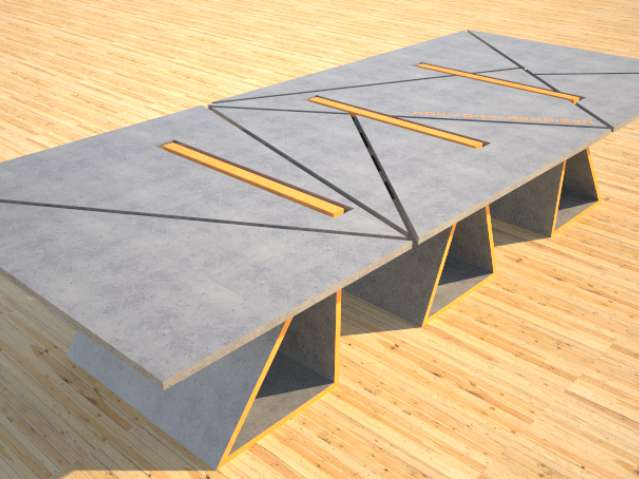 Concrete Conference table triangles by Designs by Rudy