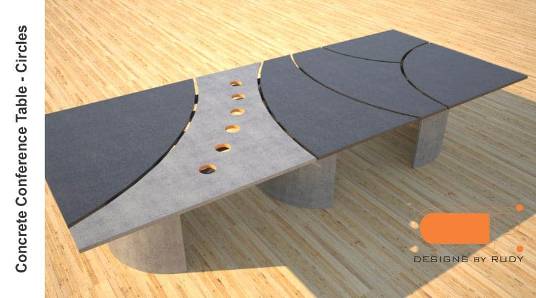 Concrete conference table, circles design by Designs by Rudy 1
