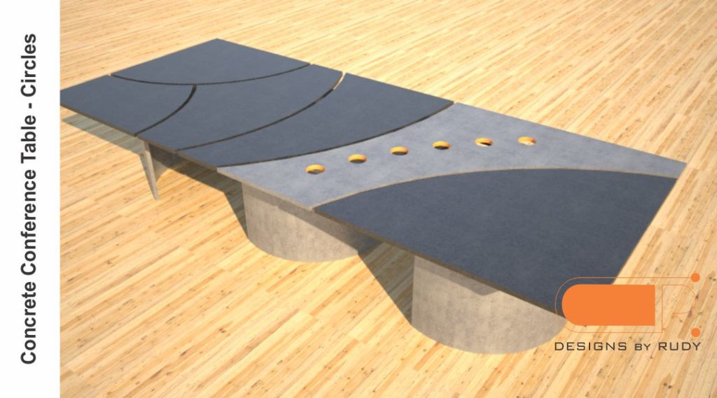 Concrete conference table, circles design by Designs by Rudy 2