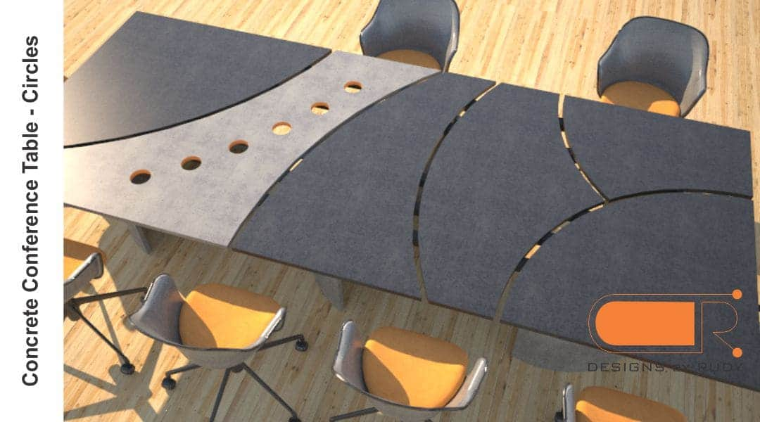 Concrete conference table, circles design by Designs by Rudy 3