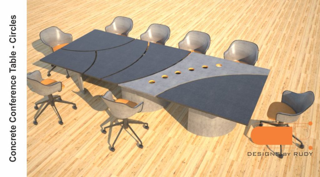 Concrete conference table, circles design by Designs by Rudy 4