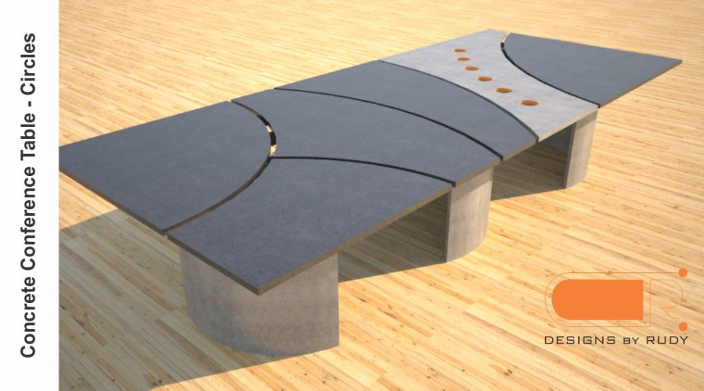 Concrete conference table, circles design by Designs by Rudy 5