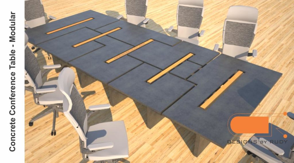 Concrete conference table, modular design by Designs by Rudy 1