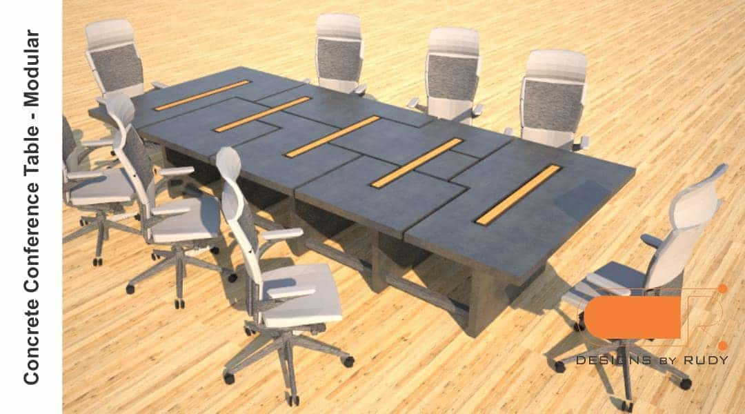 Concrete conference table, modular design by Designs by Rudy 2