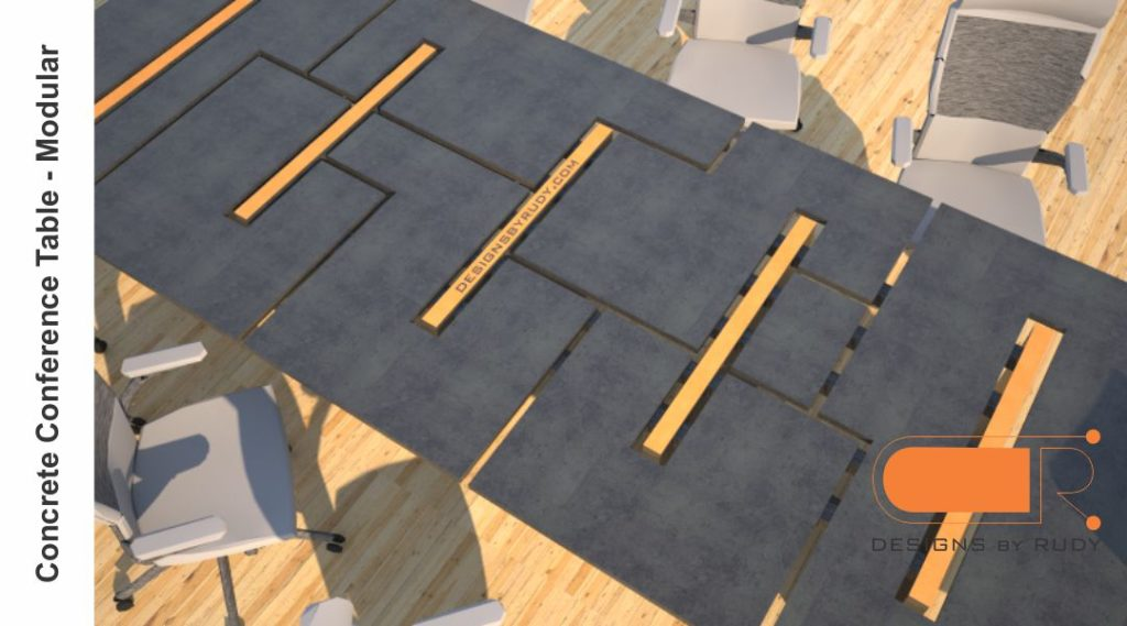 Concrete conference table, modular design by Designs by Rudy 4