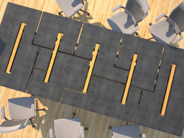 Concrete conference table modular design by Designs by Rudy
