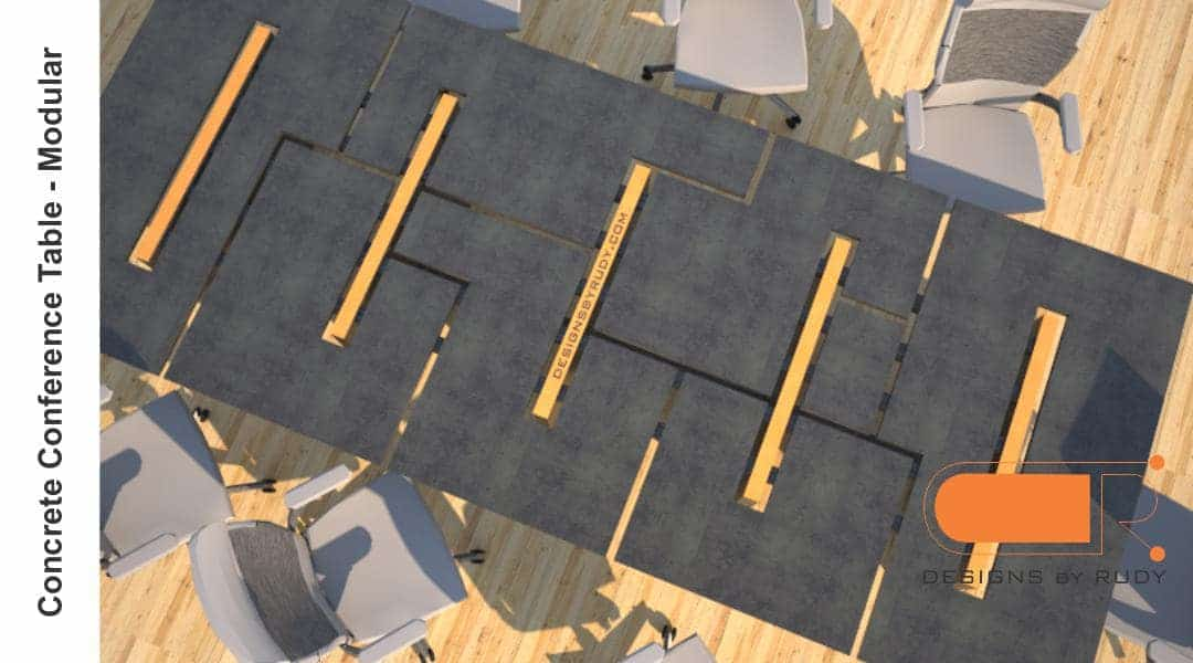 Concrete conference table, modular design by Designs by Rudy