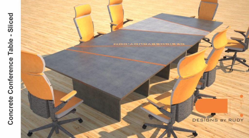 Concrete conference table, sliced design by Designs by Rudy 1
