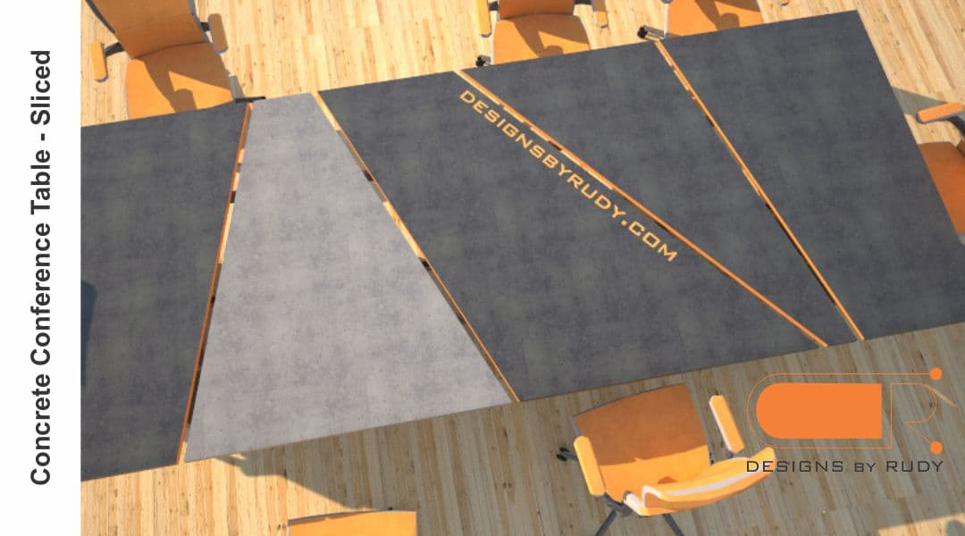 Concrete conference table, sliced design by Designs by Rudy 3