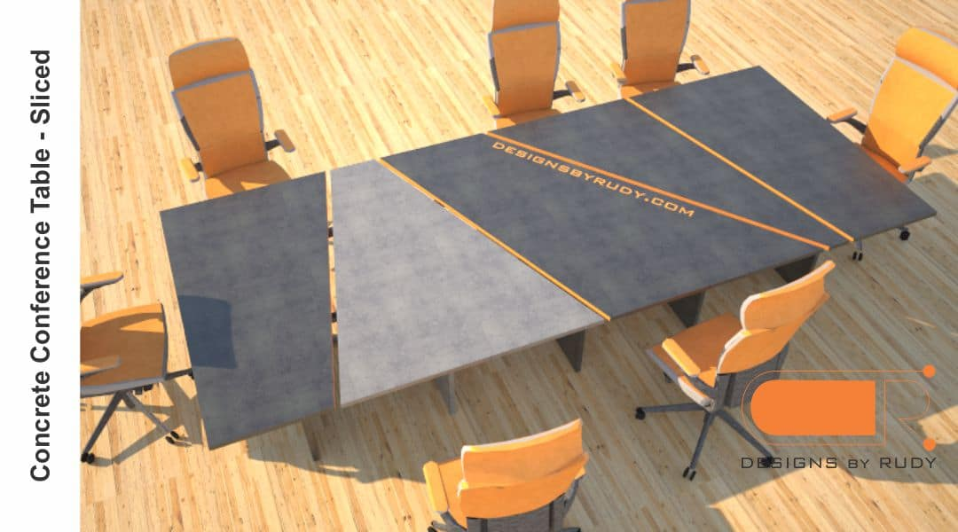 Concrete conference table, sliced design by Designs by Rudy