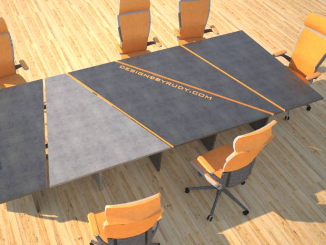Concrete conference table, sliced design by Designs by Rudy thumb