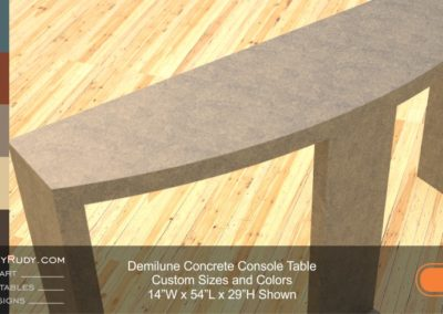 Demilune concrete console table Designs by Rudy 1