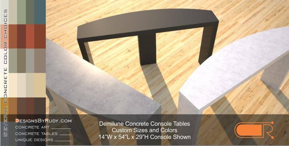 Demilune concrete console table Designs by Rudy 10