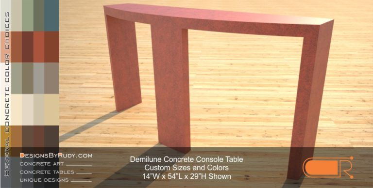 Demilune concrete console table Designs by Rudy 2