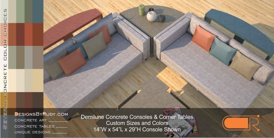 Demilune concrete console table Designs by Rudy 3