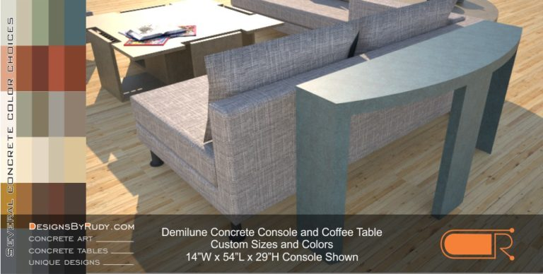 Demilune concrete console table Designs by Rudy 4