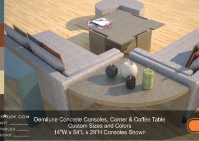 Demilune concrete console table Designs by Rudy 5