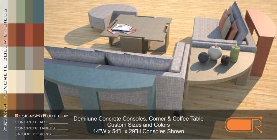 Demilune concrete console table Designs by Rudy 6