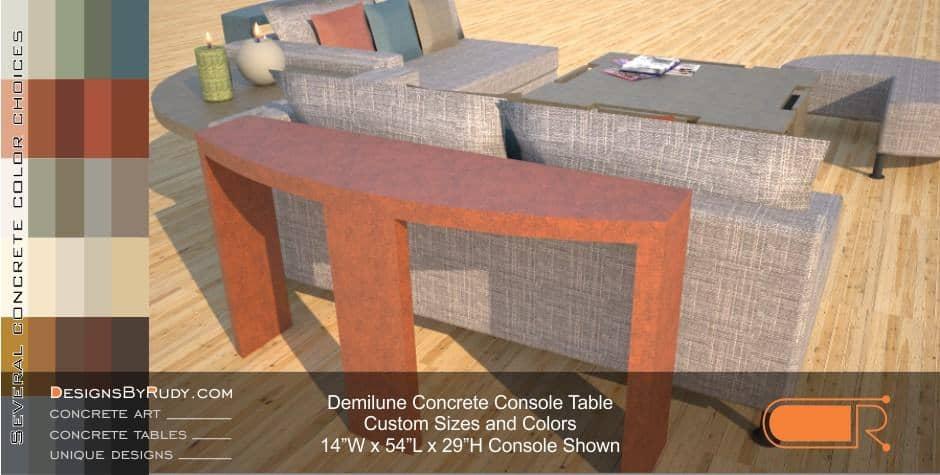 Demilune concrete console table Designs by Rudy 7