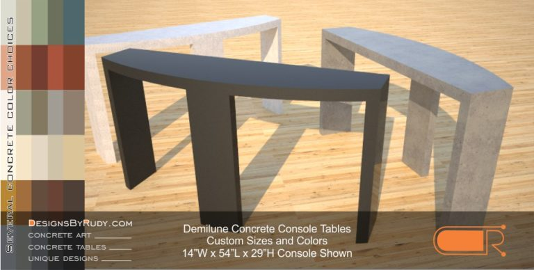 Demilune concrete console table Designs by Rudy 8